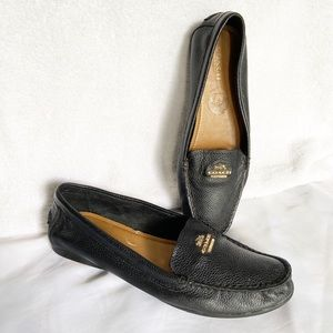 COACH Black Pebbled Leather Opal Loafers Shoes 8